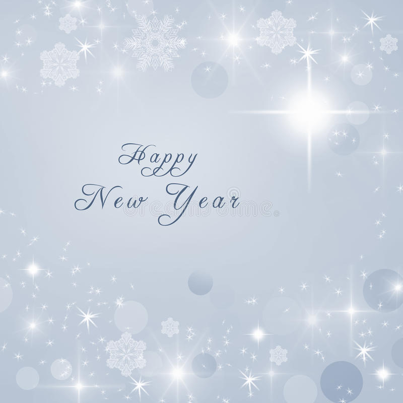 Texto de la Feliz Año Nuevo escrito en fondo brillante brillante gris del invierno Invitación del Año Nuevo libre illustration