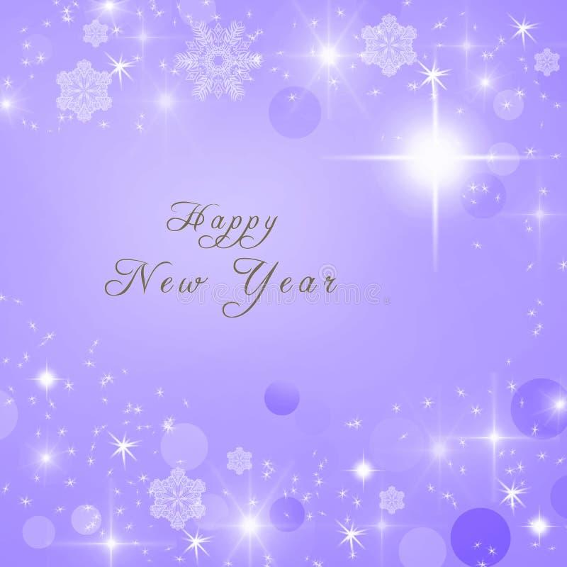 Texto de la Feliz Año Nuevo escrito en fondo brillante brillante púrpura del invierno ilustración del vector