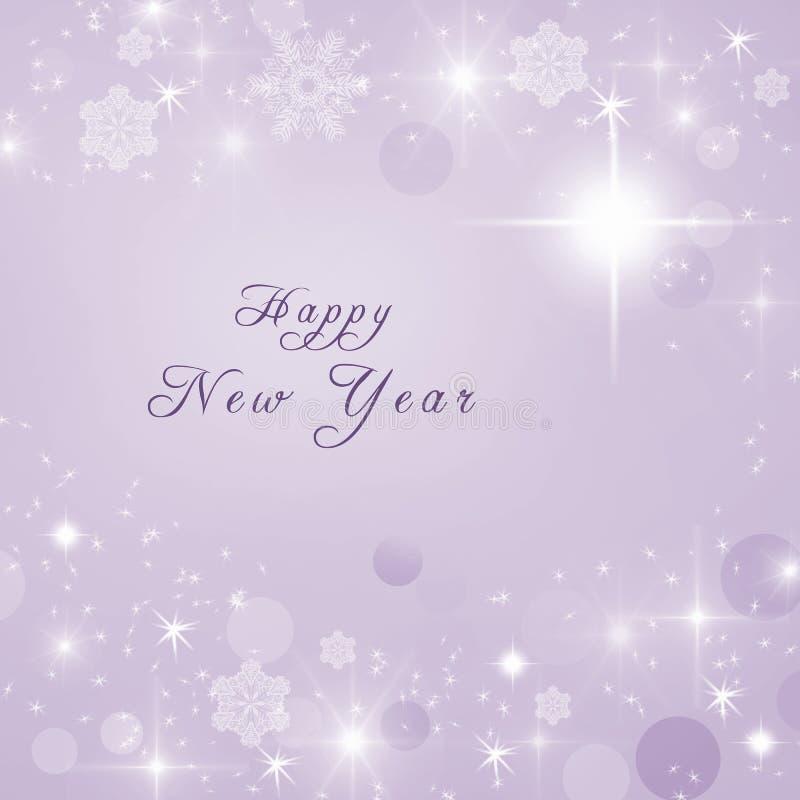 Texto de la Feliz Año Nuevo escrito en fondo brillante brillante púrpura del invierno Invitación del Año Nuevo libre illustration