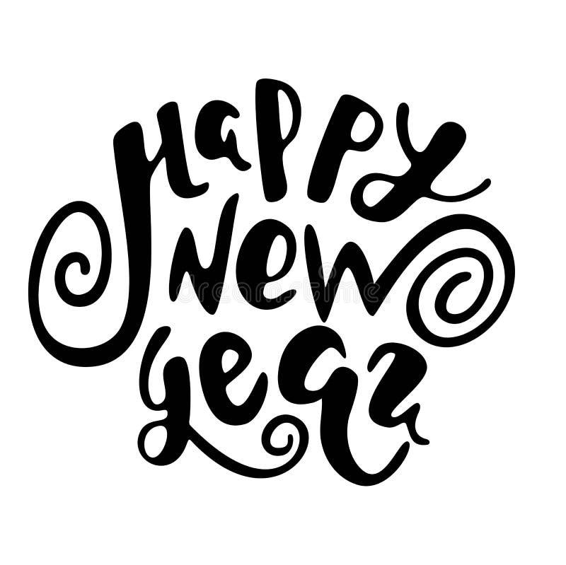 Texto de la Feliz Año Nuevo, letras dibujadas mano libre illustration
