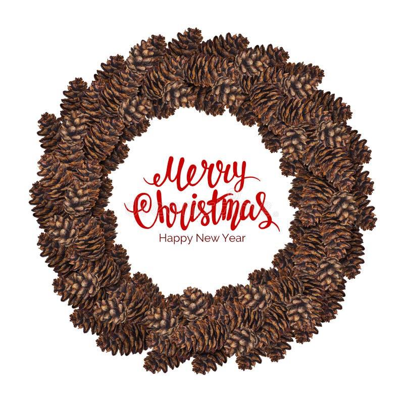 Texto de la Feliz Navidad con la guirnalda de la acuarela del cono de abeto ilustración del vector
