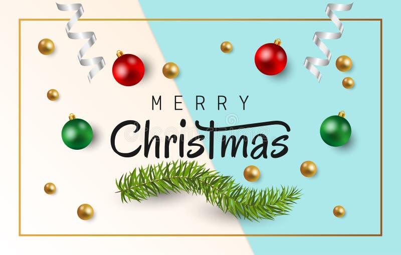 Texto de la Feliz Navidad con las bolas de la Navidad, las ramas del abeto y la cinta blanca brillante en fondo del Libro Blanco  stock de ilustración