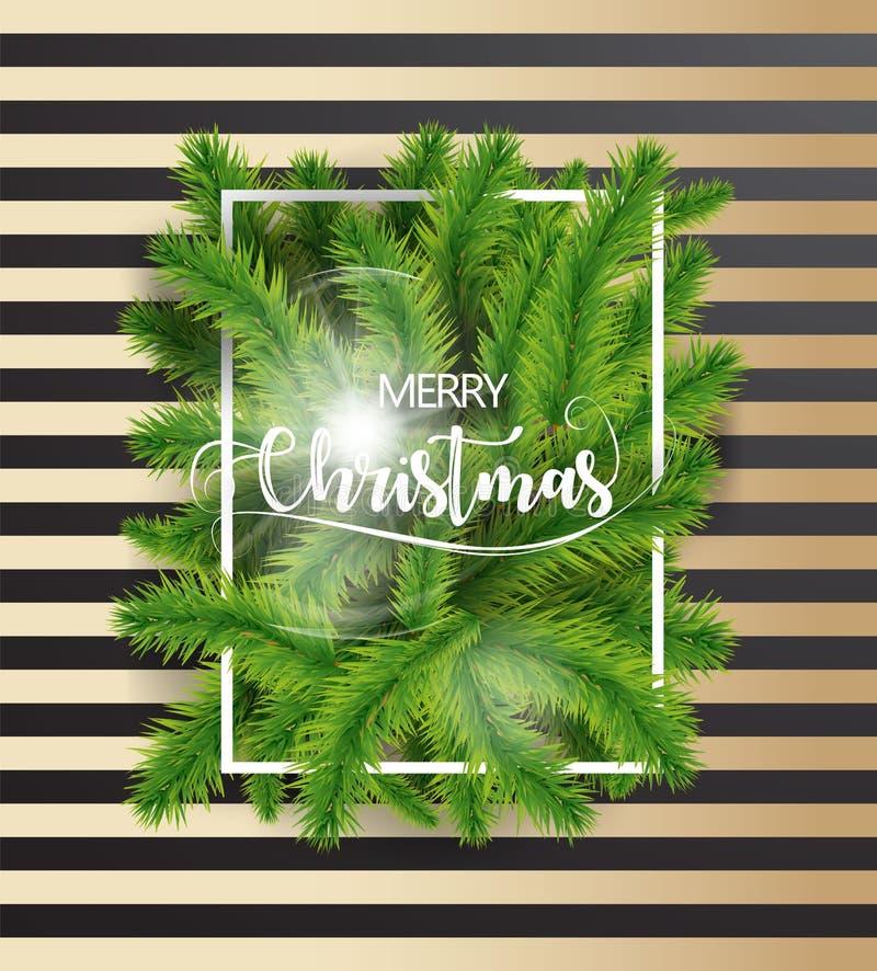 Texto de la Feliz Navidad con las ramas de árbol y la frontera blanca en oscuridad y fondo del oro Ejemplo del vector del EPS ilustración del vector