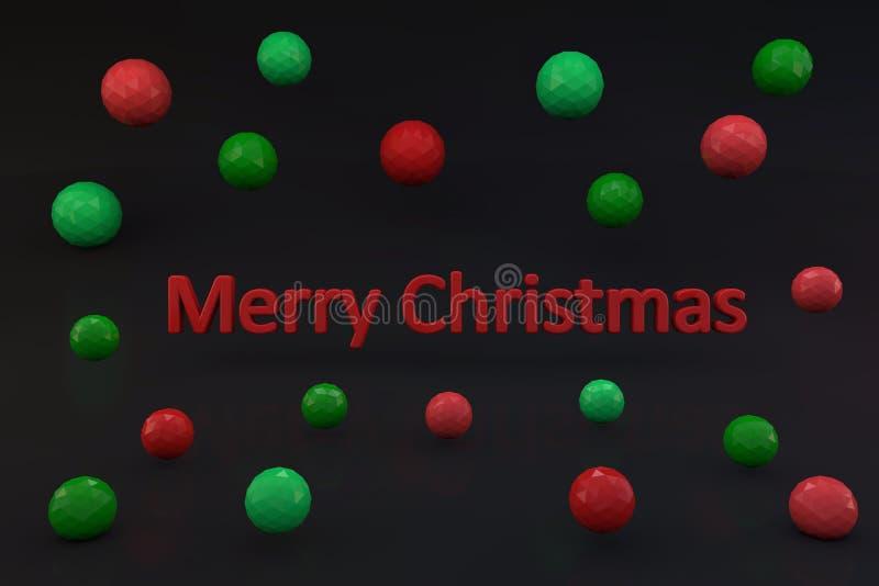 Texto de la Feliz Navidad 3d con las bolas del color libre illustration