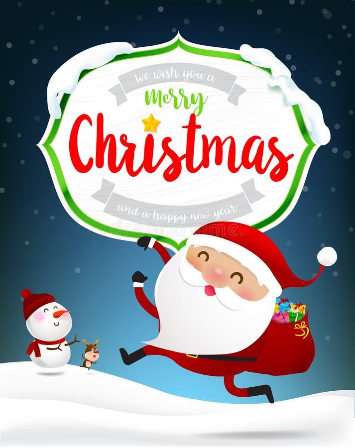 Texto de la Feliz Navidad del bastidor de madera blanco con santa feliz Clau libre illustration