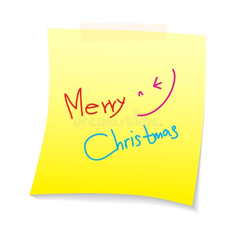 Texto de la Feliz Navidad en nota del papel stock de ilustración
