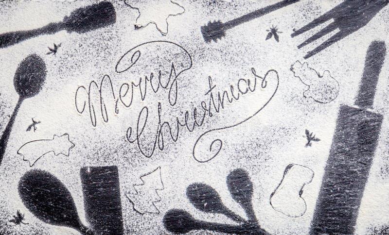 download texto de la feliz navidad hecho con la harina en fondo asombroso de la navidad - Navidades Asombrosas