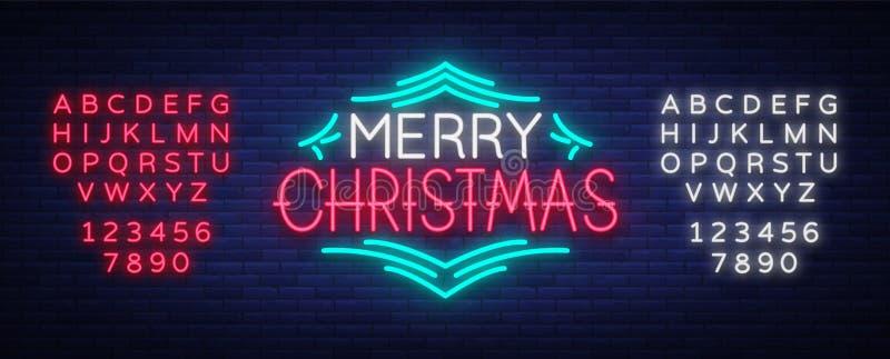 Texto de la Feliz Navidad, plantilla de la letra del diseño de la plantilla, cubierta en un estilo de neón Bandera que brilla int ilustración del vector