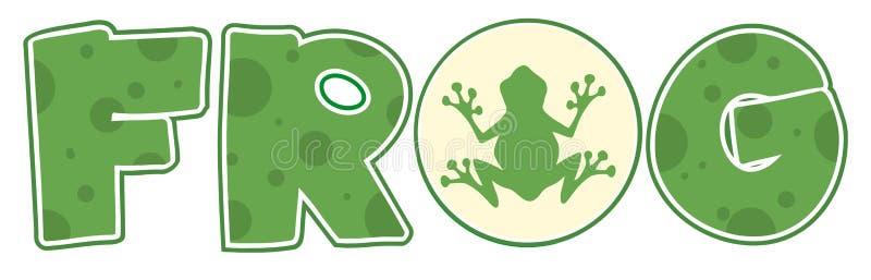 Texto de la fuente de la rana con el icono de la mascota ilustración del vector