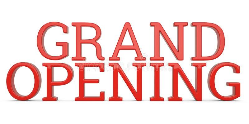 Texto de la gran inauguración aislado en el ejemplo blanco del fondo 3D stock de ilustración