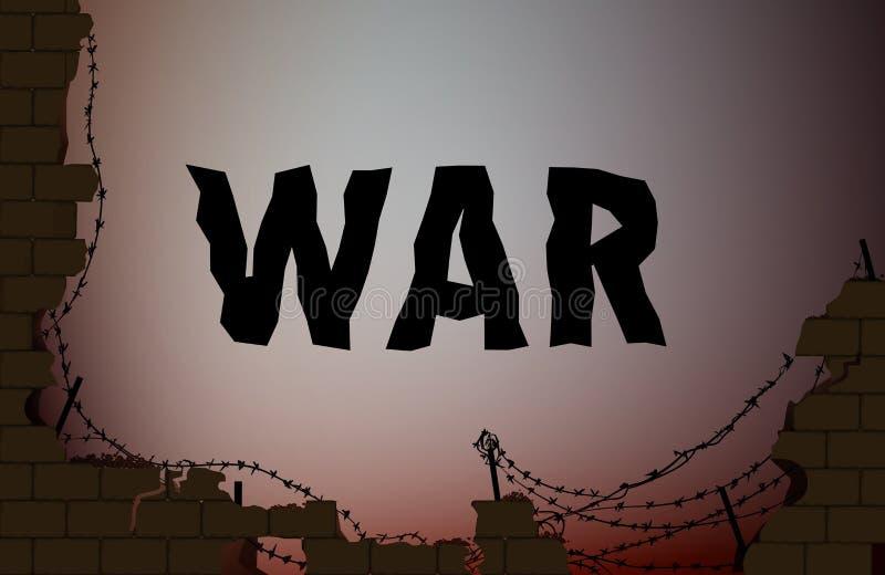 Texto de la guerra en el fondo con la pared de ladrillo y el alambre de púas quebrados, stock de ilustración