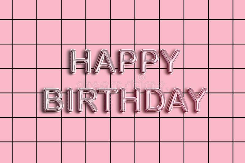 Texto de la hoja del feliz cumpleaños en fondo rosado en colores pastel del modelo libre illustration
