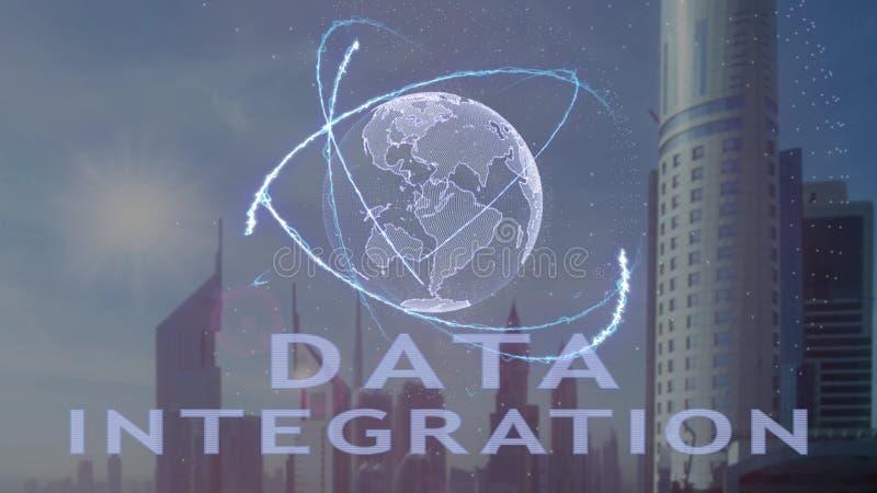 Texto de la integraci?n de datos con el holograma 3d de la tierra del planeta contra el contexto de la metr?poli moderna libre illustration