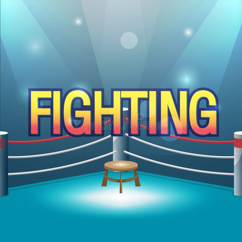 Texto de la lucha del fondo de etapa del boxeador stock de ilustración