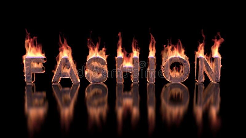 Texto de la moda que quema en fuego en superficie brillante stock de ilustración