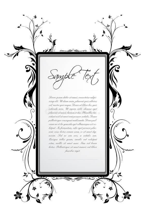 Texto de la muestra en marco floral stock de ilustración