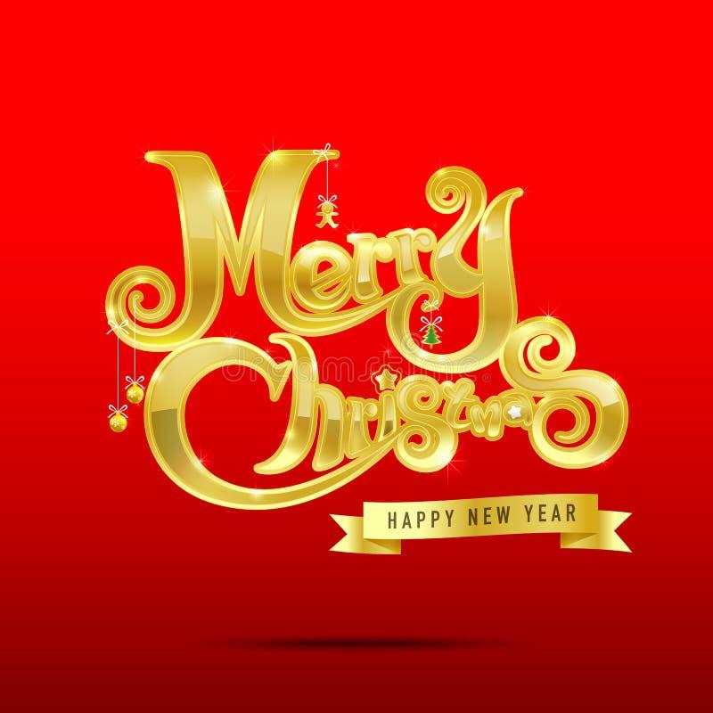 texto 003 de la Navidad 012-Merry ilustración del vector
