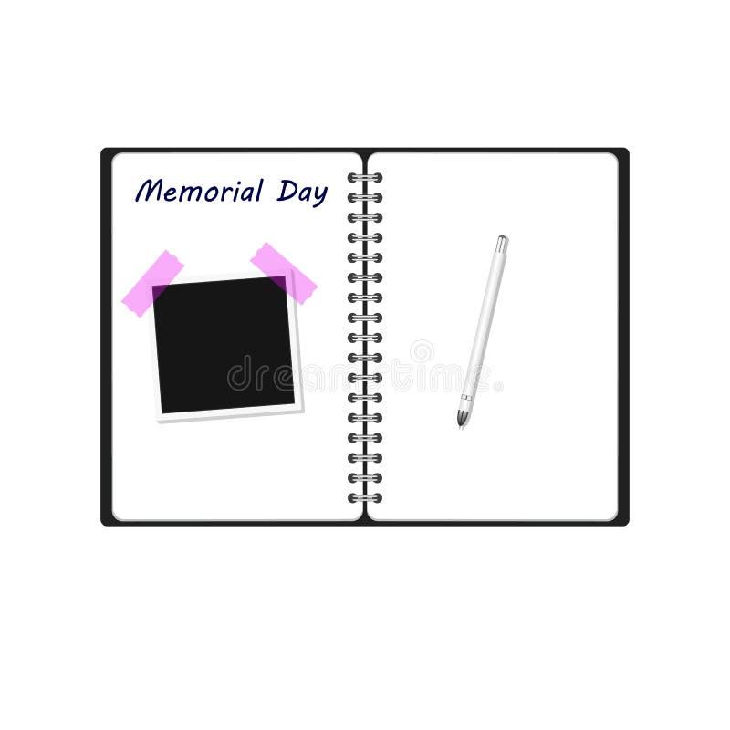 Texto de la palabra del Día de los caídos escrito en el cuaderno con el fondo de la textura de la pluma del marco de la foto stock de ilustración