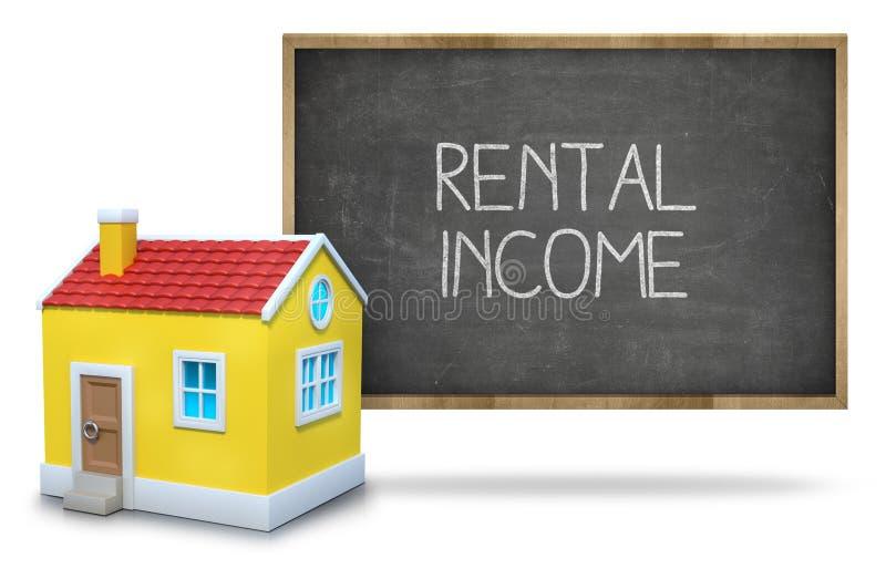 Texto de la renta en la pizarra con la casa 3d imagen de archivo