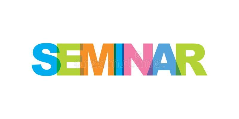 Texto de la tarjeta de visita del seminario Cartel moderno de las letras Icono del lema del arte de la palabra del color Elemento stock de ilustración