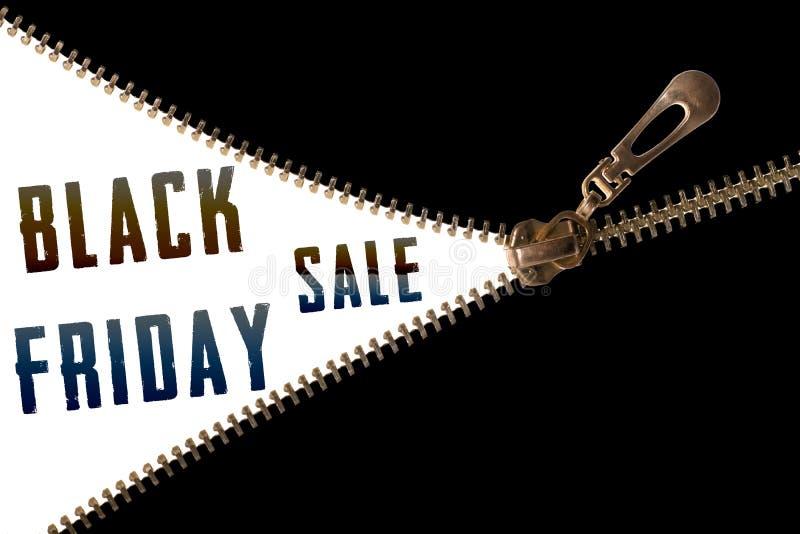 Texto de la venta de Black Friday detrás de la cremallera imagenes de archivo