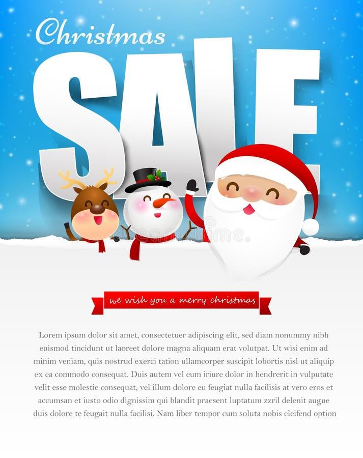 Texto de la venta de la Feliz Navidad con el ejemplo e del vector de Papá Noel ilustración del vector