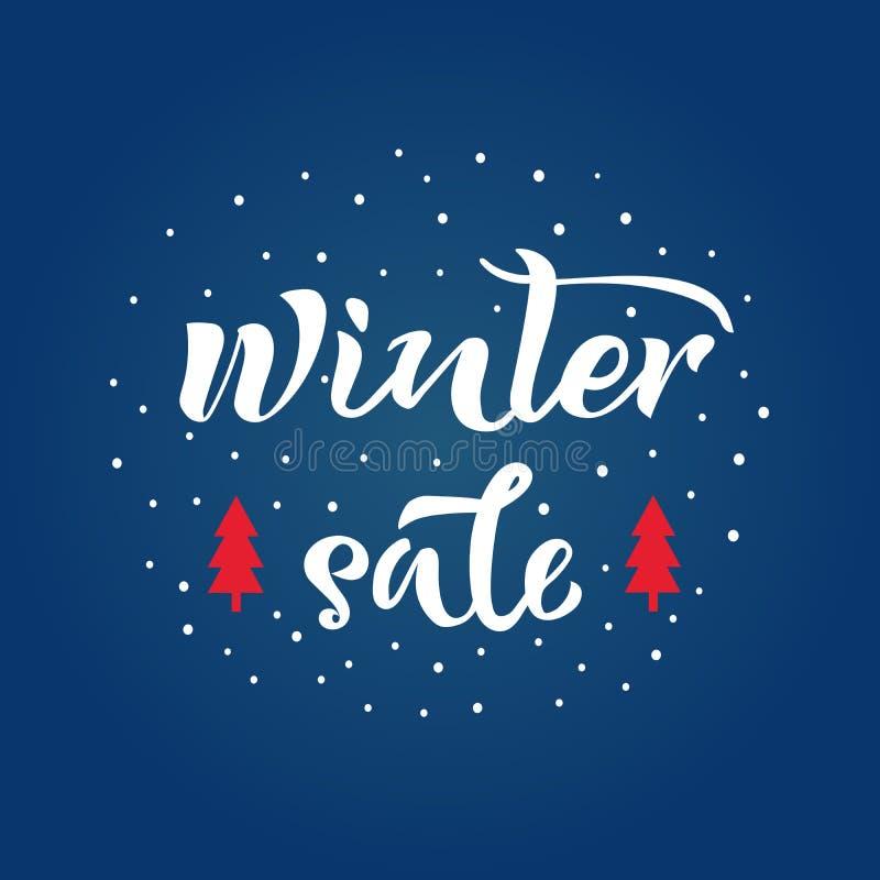 Texto de la venta del invierno con el árbol de la nieve y de abeto en fondo Caligrafía, diseño de letras Tipografía para las post ilustración del vector