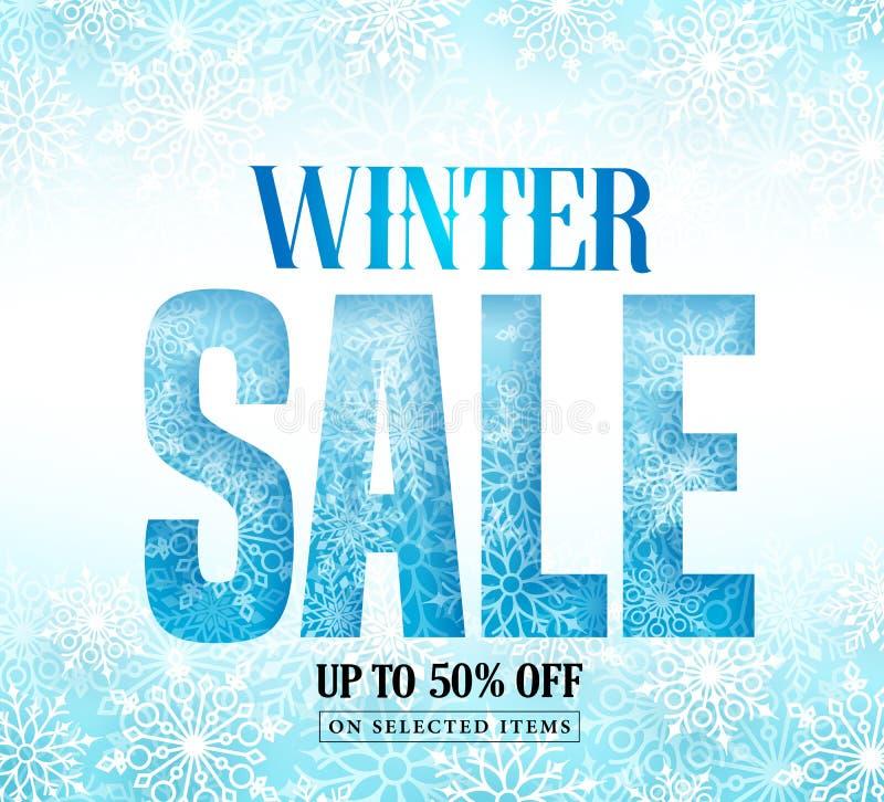 Texto de la venta del invierno con el modelo de la nieve y copos de nieve blancos en fondo azul ilustración del vector