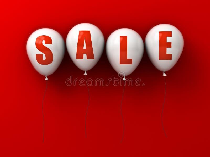 Texto de la venta en los globos blancos aislados en fondo rojo con la sombra ilustración del vector