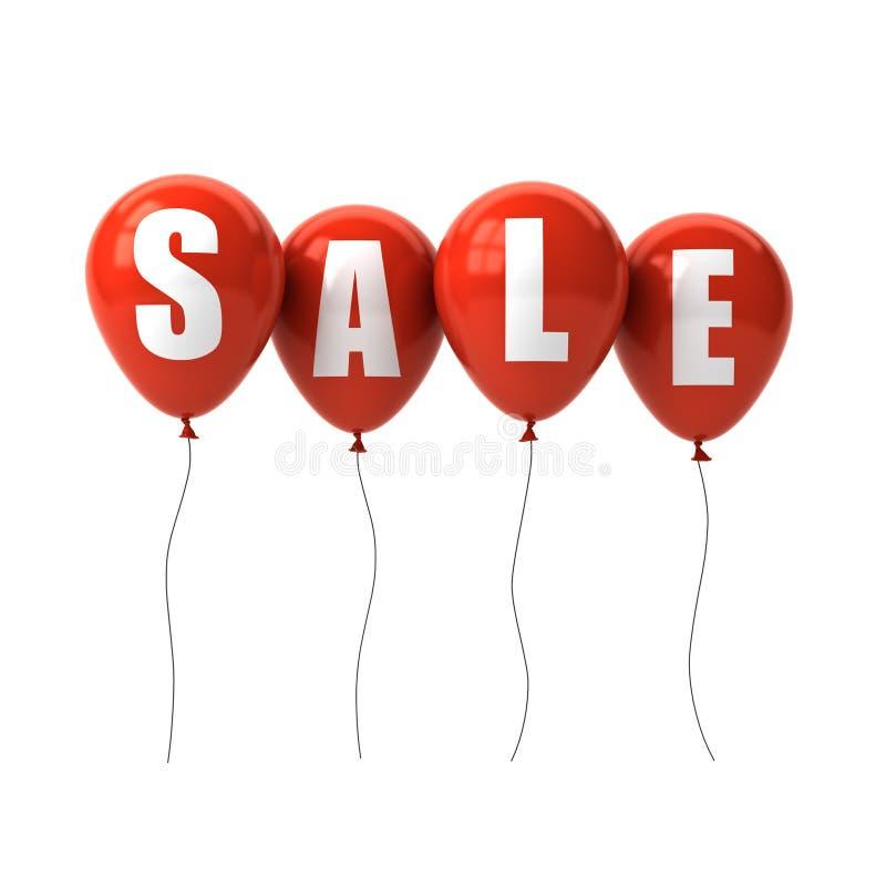 Texto de la venta en los globos rojos aislados en el fondo blanco ilustración del vector