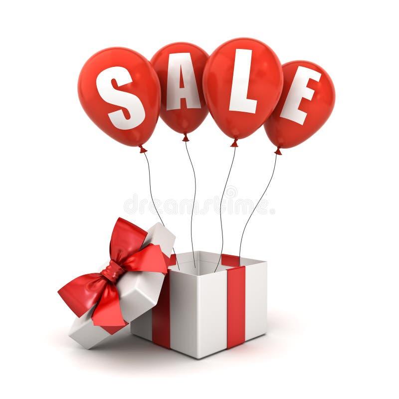 Texto de la venta en los globos rojos con la caja de regalo abierta o la actual caja con la cinta roja y el arco aislado en el fo libre illustration