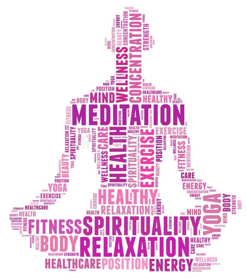 Texto de la yoga y de la salud Info ilustración del vector