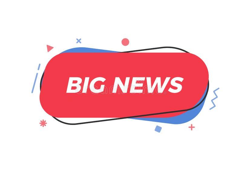 Texto de las buenas noticias en forma geométrica de moda Elemento para los avisos, noticias de última hora, periódico, televisión ilustración del vector