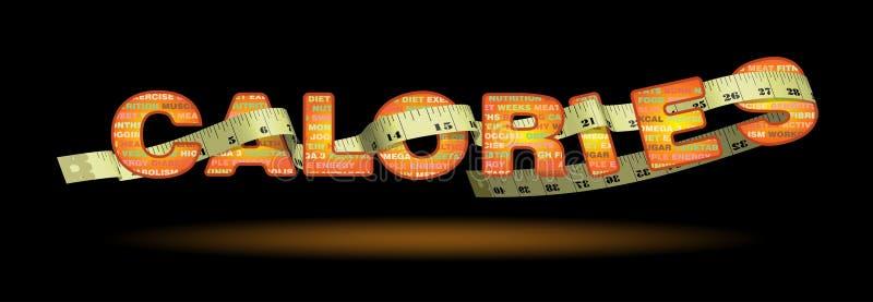 Texto de las calorías de los vigilantes del peso con la cinta de medición ilustración del vector
