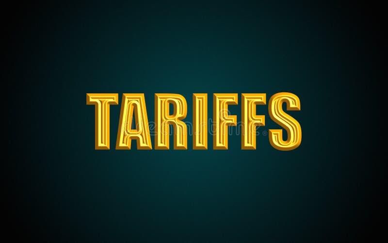 Texto de las tarifas stock de ilustración