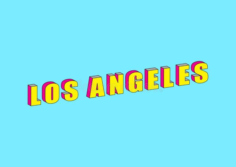 Texto de Los Angeles con el efecto isométrico 3d ilustración del vector