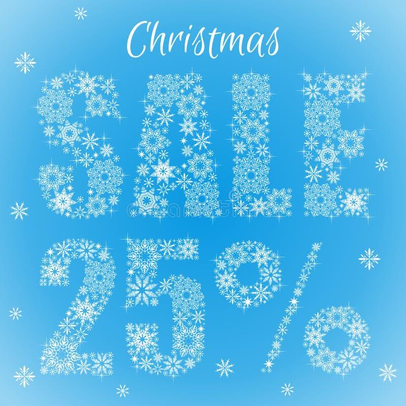 Texto de los copos de nieve Venta de la Navidad el 25 por ciento ilustración del vector