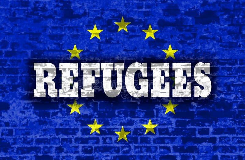 Texto de los refugiados en el contexto texturizado pared de ladrillo vieja stock de ilustración