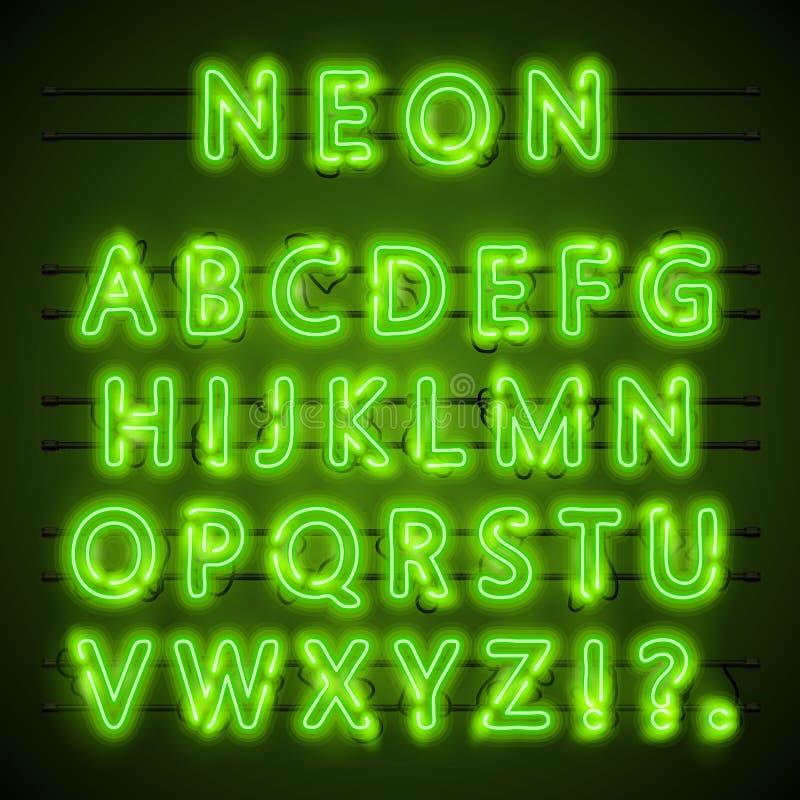 Texto de néon da fonte eps verde Lâmpada Alfabeto Ilustração do vetor ilustração stock