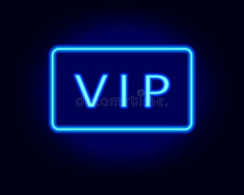Texto de neón del VIP del vector en azul imágenes de archivo libres de regalías