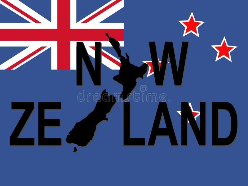 Texto de Nova Zelândia com mapa ilustração royalty free