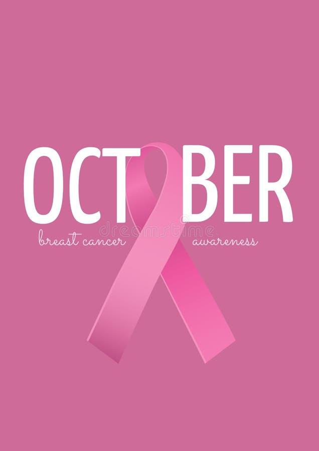 Texto de octubre con concepto rosado del mes de la conciencia del cáncer de la cinta y de pecho ilustración del vector