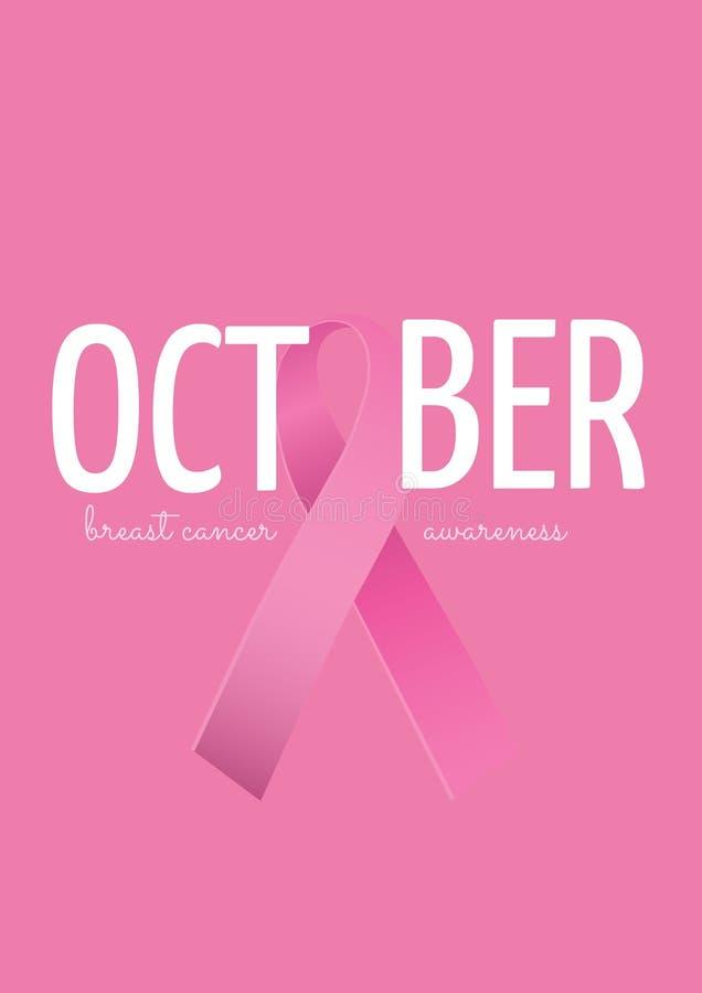 Texto de octubre con concepto rosado del mes de la conciencia del cáncer de la cinta y de pecho stock de ilustración