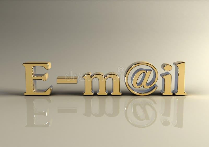 Texto de oro fotorrealista del email 3d foto de archivo libre de regalías