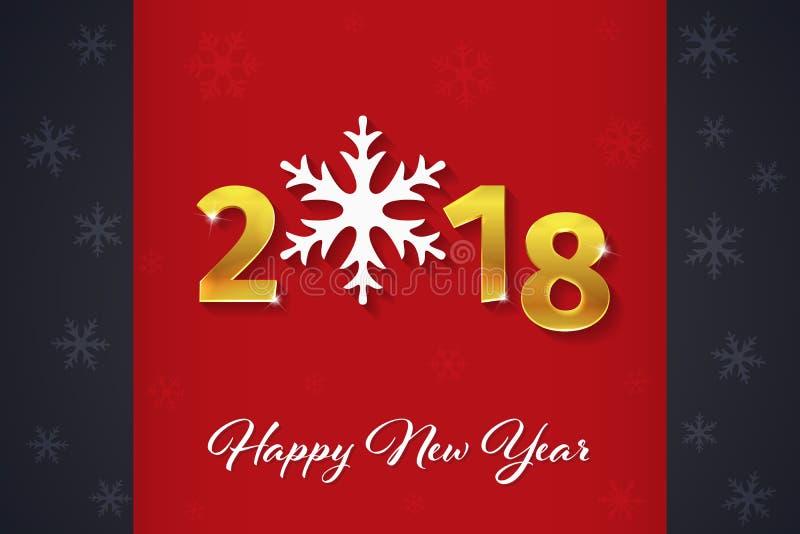 2018 texto de oro de la Feliz Año Nuevo 3D en el fondo rojo y oscuro de la Navidad con las siluetas del copo de nieve stock de ilustración