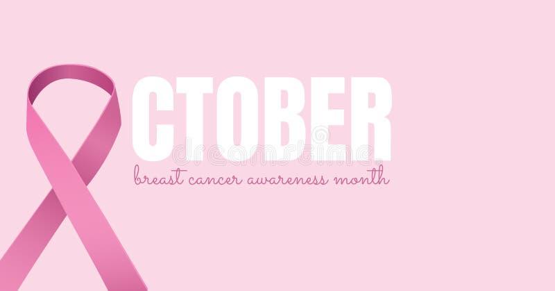 Texto de outubro com conceito cor-de-rosa do mês da conscientização da fita e do câncer da mama ilustração royalty free