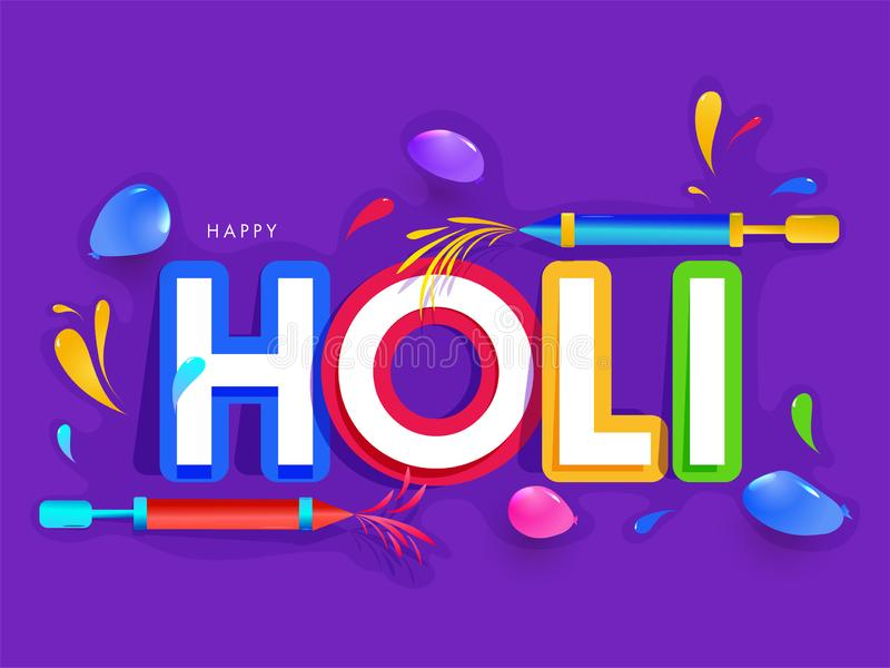 Texto de papel Holi con los armas y los globos del color en fondo púrpura stock de ilustración