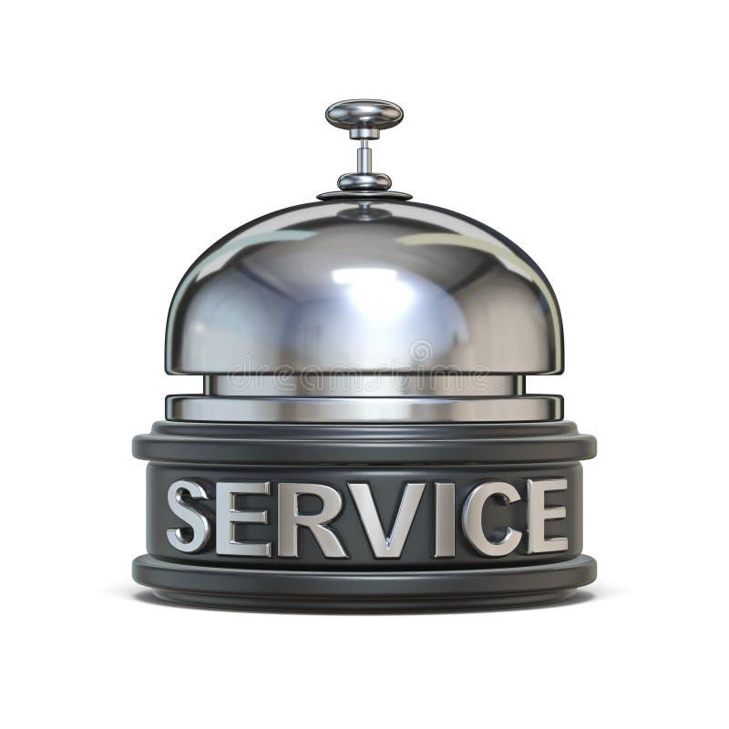 Texto de plata 3D del SERVICIO de la campana de la recepción ilustración del vector