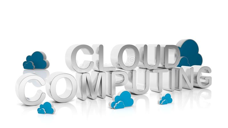 Texto de prata de computação da nuvem ilustração do vetor