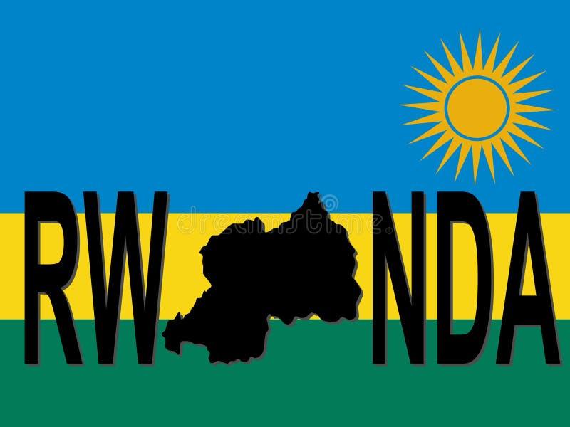 Texto de Rwanda com mapa ilustração do vetor